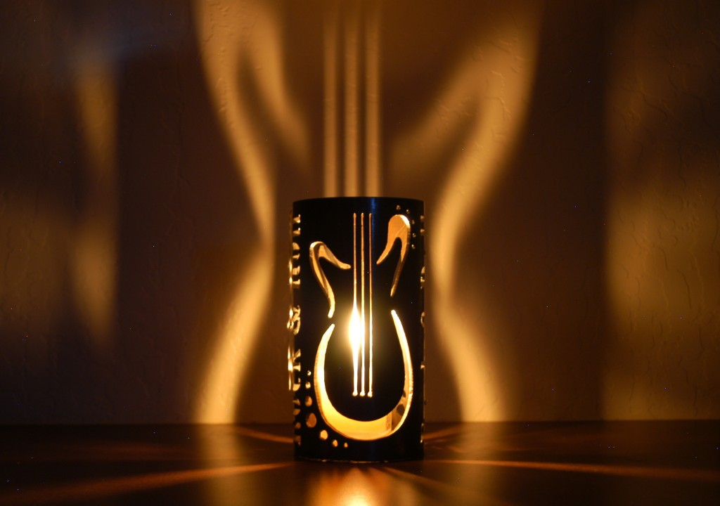 Rock & Roll guitar candle holder projection